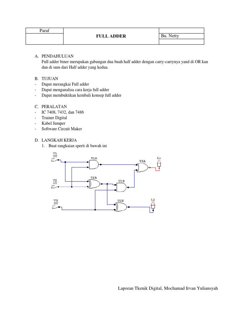 Laporan Full Adder Diagram