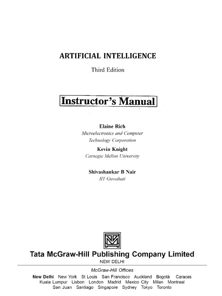 Solution Manual to Third Edition AI | Artificial Intelligence | Technology