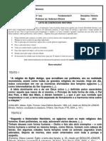 LISTA EXERCICIO HISTORIA 6º ANO RECUPERAÇÃO FINAL
