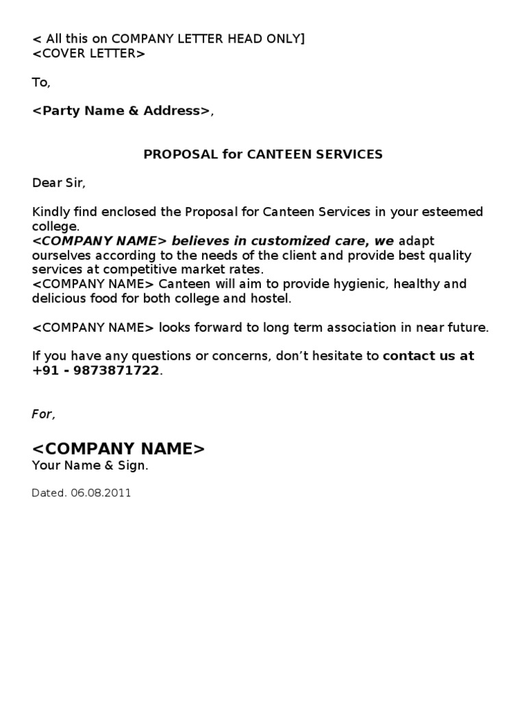 Canteen Proposal | Cafeteria | Kitchen  Bid Proposal Letter