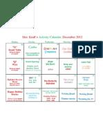 December 2012 Activity Calendar PDF