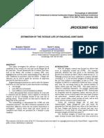 Hetenyi Estimation of Fatigure Life of Jointed Railway Bars