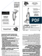 Dirt Devil Vacuum 087305.  This is the owner manual to a vacuum cleaner with part numbers.