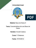 Caracteristicas de Una Base de Datos