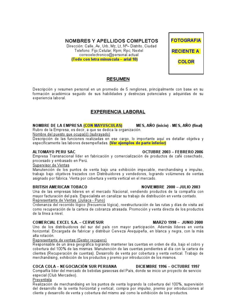Bonito Resumen De Descripción De Ventas Imágenes - Ejemplo De ...