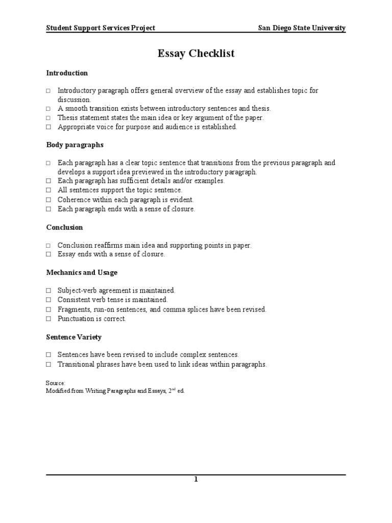 essay mechanics checklist