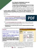 COMUNICADO EXAMENES FINALES PREGRADO 2012-02 %28Trámite Virtual%29