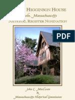 Henry Higginson House, Lincoln, Massachusetts, National Register Nomination