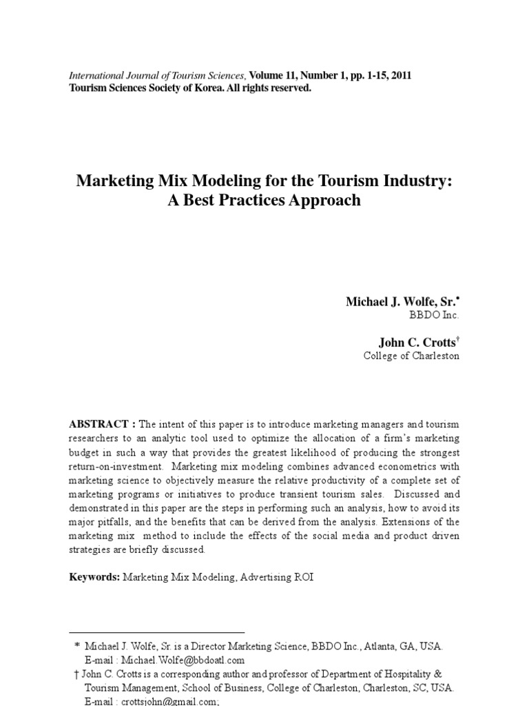 marketing mix modeling for the tourism industry a best practices approach marketing advertising