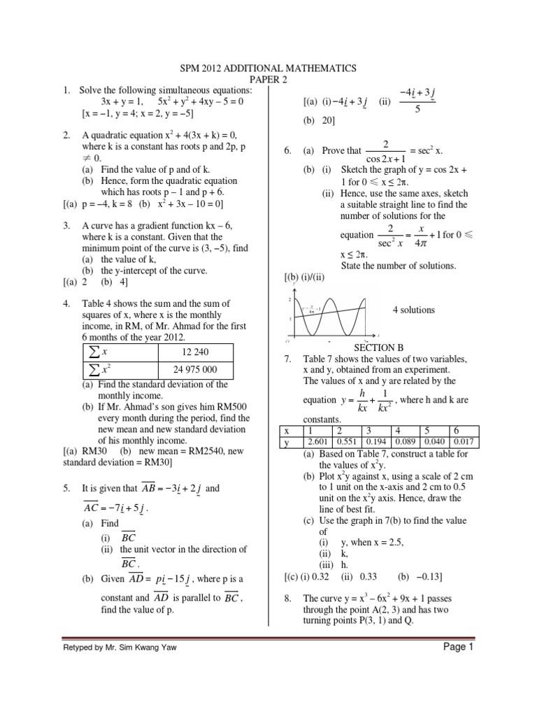 Spm Additional Mathematics Paper 2 Ans Line Geometry Quadratic Equation