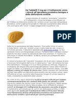 Tadalafil Lilly disponibile in Italia per il trattamento unico dei sintomi urinari