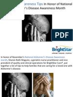 Alzheimer's Awareness Tips In Honor of National Alzheimer's Disease Awareness Month
