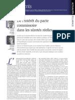 De l'intérêt du pacte commissoire dans les sûretés réelles, par Ch. Jacomin et B. Lacourte