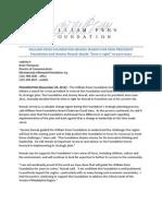 William Penn Foundation Begins Search for New President - November 28, 2012