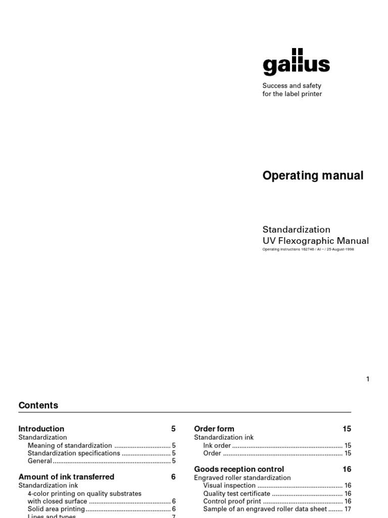 Standardization Uv Flexo Manual   Printmaking   Engraving