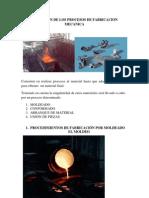 Definicion de Los Procesos de Fabricacion Mecanica