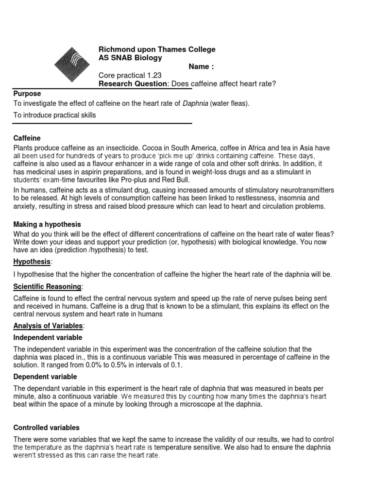 daphnia heart rate experiment Daphnia heart rate - lab report essay  introduction: caffeine is a stimulant which is derived from leaves, flowers and seeds of plants - daphnia heart rate - lab report essay introduction the plant uses the caffeine as a way to repel insects as it is used as a natural pesticide by paralyzing and killing certain insects.