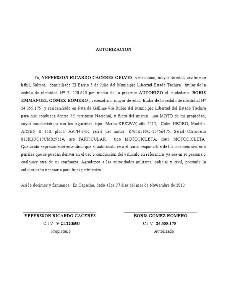 Autorizacion moto for Fuera de mi propiedad