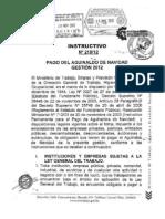 Instructivo Nº 218/12 de Pago de aguinaldo de Navidad 2012 Bolivia