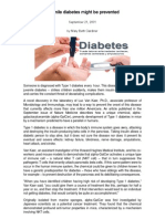 Juvenile Diabetes Might Be Prevented Modified