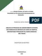 ANÁLISE DO PROCESSO DE GERENCIAMENTO EXTERNO - QUESTIONÁRIO