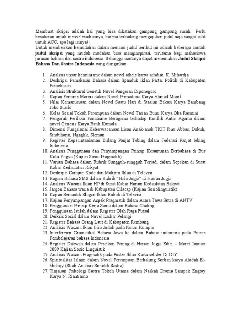 Judul Proposal Bahasa Indonesia Pigura