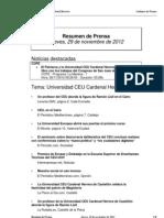 Resumen prensa CEU-UCH 29-11-2012