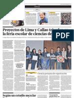 Proyectos de Lima y Callao Triunfan en La Feria Escolar de Ciencias de Concytec