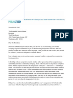 Public Citizen letter to President Obama on corporate inauguration donations