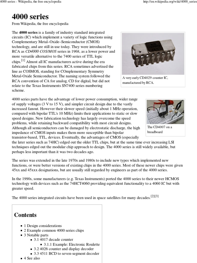 4000 Series -Decade Ic 's | Integrated Circuit | Cmos