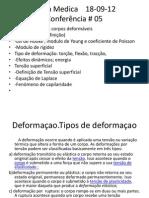 Conferência # 05-Deformaion de los cuerpos- Fisica Medica