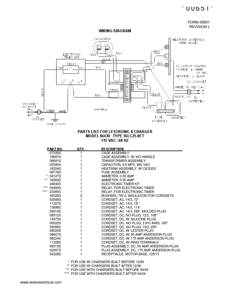 Lestronic II Model 06430 Wiring Diagram and Parts List