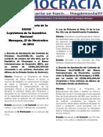 Labor Legislativa del martes, 27 de noviembre de 2012.