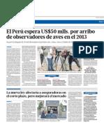 El Perú espera 50 mlls. por arribo de observadores de aves en el 2013