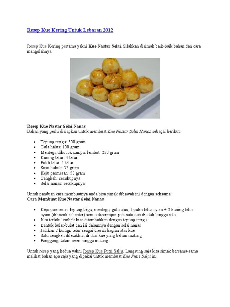 Resep Kue Kering Untuk Lebaran 2012