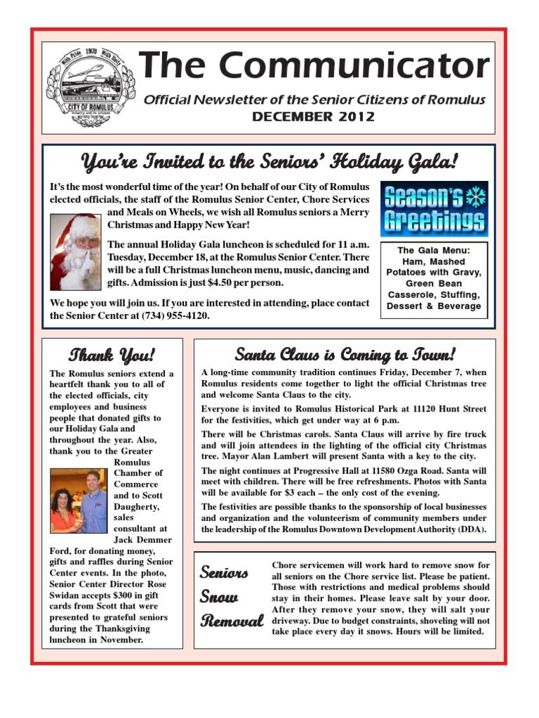 Communicator senior newsletter december 2012 christmas and communicator senior newsletter december 2012 christmas and holiday season caregiver kristyandbryce Gallery