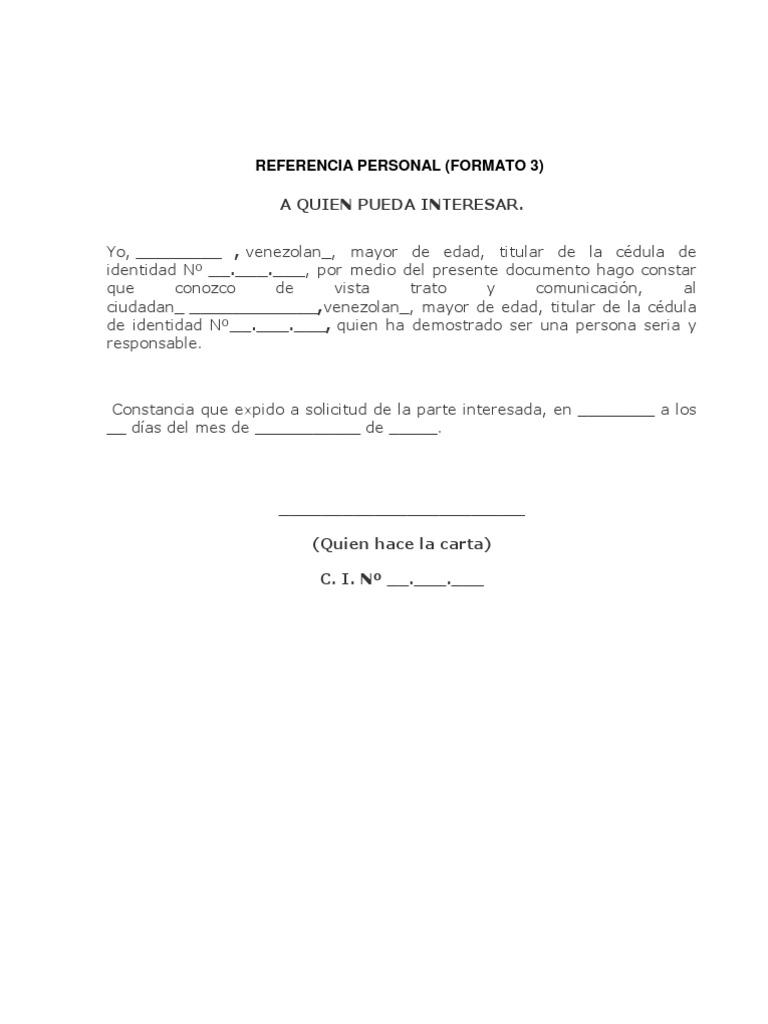 Carta Referencia Personal Formato Word Djdarevecom