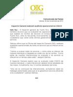 Comunicado de Prensa-Realizarán auditoría operacional en los CESCO