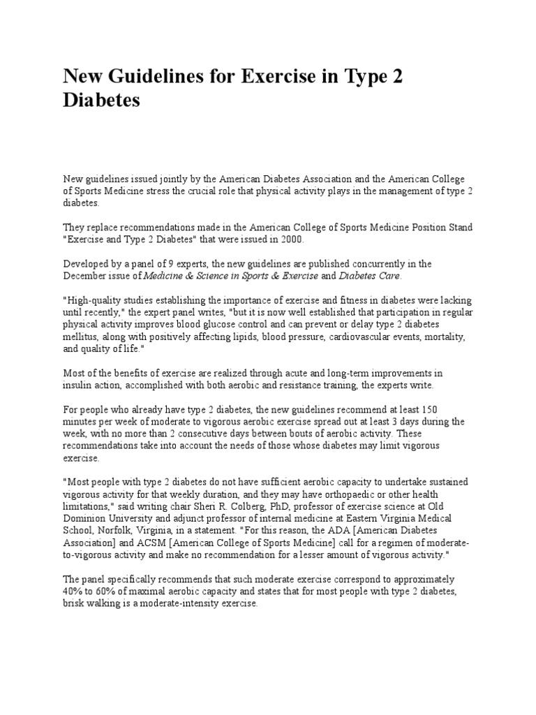 new guidelines for exercise in type 2 diabetes diabetes mellitus rh scribd com