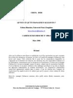 Qu'Est-ce Qu'Un Manager d'Alliances - CREPA-DRM n°2006_3