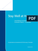 Stay Well at Home - Social Return on Investment (SROI) Evaluation Report - a summary