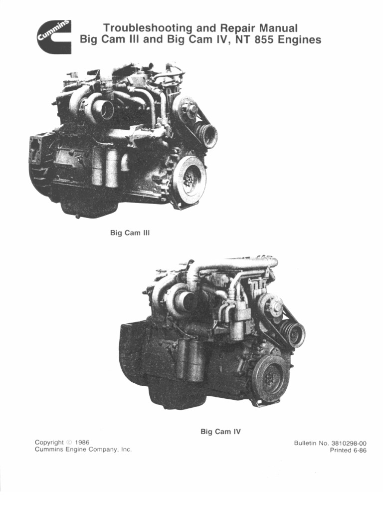 sm nt 855 turbocharger cylinder engine rh scribd com Big Cam Cummins Twin Turbo Cummins Big Cam Torque Specs