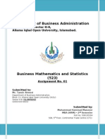 Assignment 1st_523_Business Mathematics and Statistics