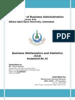 Assignment 2nd_523_Business Mathematics and Statistics