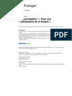 Leportique 155 10 o Psychedelie Pour Une Philosophie de La Drogue