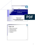 Surveys, Critical Evaluation & Fieldwork (Technical Writing CS212)