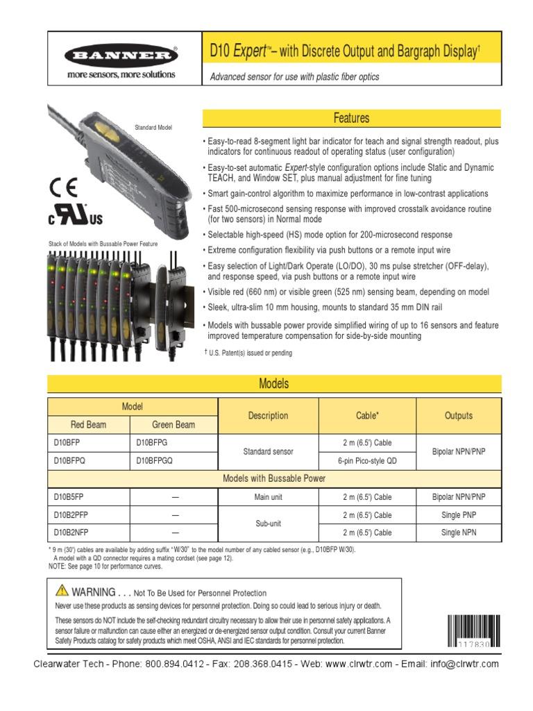 Banner D10 Bargraph Display Bipolar Junction Transistor Sensor Proximity In Addition Pnp Npn Sensors Diagram On Inductive