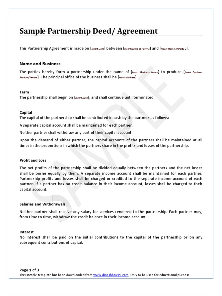 Partnership deed partnership income statement altavistaventures Gallery