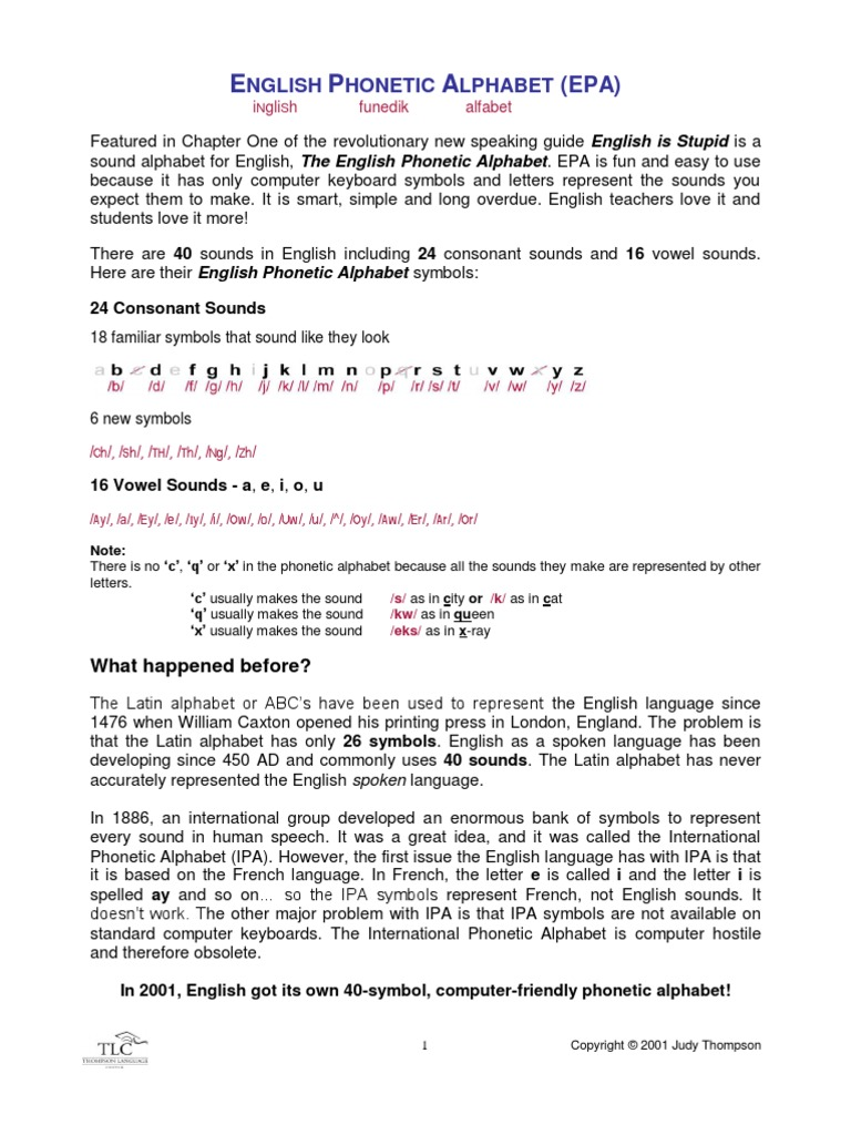 English Phonetic Alphabet Pdf