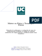 Datación de sedimentos y evaluación de tasas de sedimentación mediante el análisis de isótopos radiactivos de origen natural y artificial usados como trazadores
